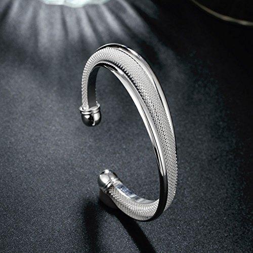 (Cutedoumiao Silver Bracelets for Women Bangle Bracelets Sterling Silver Plated Bracelet,925 Sterling Silver Plated Bangle Cuff Bracelet Silver Bracelet for Women)