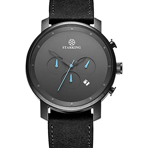 STARKING Top Brand Luxury Mens Chronograph Wrist Watch TM0913 Leather Watch Men Casual Style Fashion Minimal Waterproof Watches Scratch Proof - Mens Top Brands Luxury