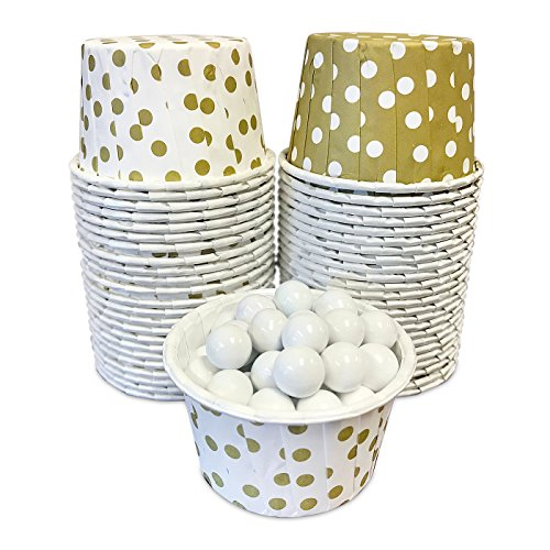Candy Nut Mini Baking Paper Treat Cups - Gold and White Dot 2 Patterns - 2 x 1.5 Inches - 48 Pack