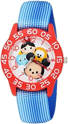Disney Girl's 'Mickey Mouse' Quartz Plastic and Nylon Watch, Color:Blue (Model: W003009)