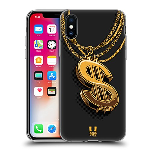 Head Case Designs Dollar Sign Ghetto Bling Soft Gel Case for iPhone X/iPhone Xs
