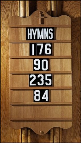 Hymn Board-5 Sets Of Numeral Slides & HYMNS-Pecan by CB Gift