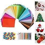 """40Pcs Felt Fabric Sheet 6""""x6"""" Felt Assorted Felt Sheets with 21Pcs Color Line and 100Pcs Craft Felt Shapes, Nonwoven Fabric Sheets,Patchwork Sewing Assorted Felt Cloth DIY Craft 1mm Thick (40pcs)"""