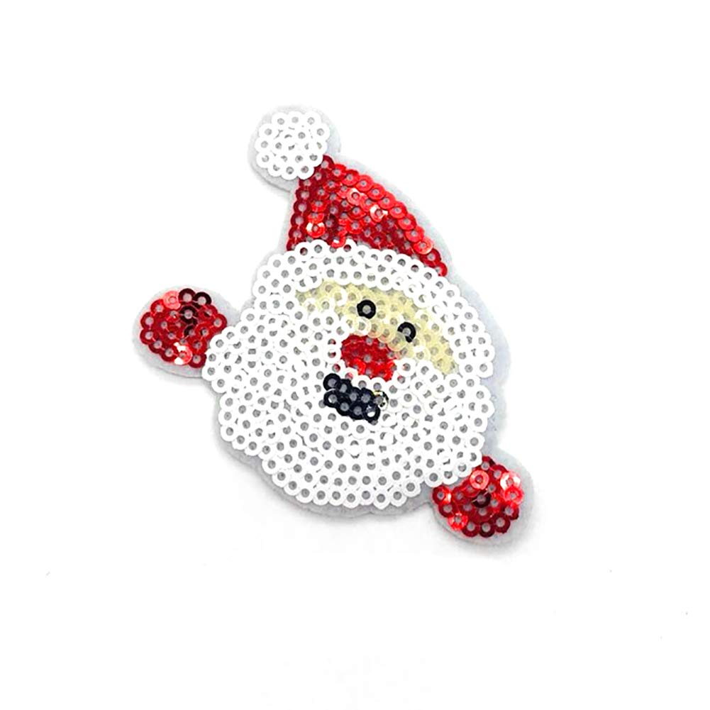 YaptheS 1PC Christmas Sew-on Or Iron-on Patch Santa Embroidered Patches Sequin Applique DIY Clothes Accessories(Santa Claus-B) Christmas Style