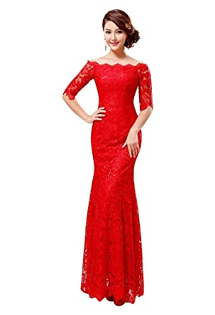ef99ec8e9e7 Beauty-Emily épaule dénudée-sirène Robe de soirée longue à manches   Amazon.fr  Vêtements et accessoires