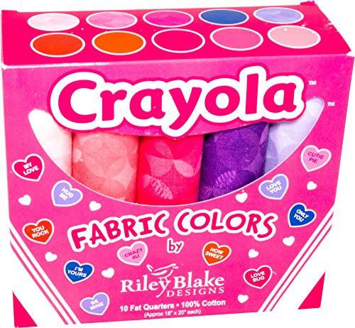 Crayola Colors Box Valentine 10 Fat Quarters Riley Blake Designs FQB-480VA-10 -