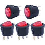 mxuteuk 5pcs AC110V Red Light Illuminated Snap-in Round Boat Rocker Switch Toggle Power SPST ON-Off 3 Pin AC 250V 6A 125V 10A, Use for Car Auto Boat Household Appliances 1 Years Warranty MXU1-5-101NR