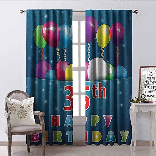- Gloria Johnson 35th Birthday Heat Insulation Curtain Surprise Party for Thirty Five Years Old with Flying Balloons and Ribbons for Living Room or Bedroom W52 x L54 Inch Multicolor