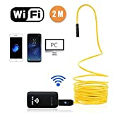 Fixinus Rigid Wireless Endoscope, WiFi Borescope Inspection Camera Waterproof 2.0 Megapixels HD 6 LED Lights Semi-rigid Snake Camera for Android IOS Smartphone, iPhone, Samsung, Tablet, Laptop -6.56FT