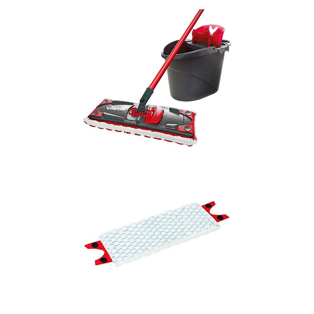 Vileda Set Ultramax mopa de microfibras 2en1 para fregar y cubo con escurridor cubo y mopa con palo telesc/ópico para todo tipo de superficies set de limpieza