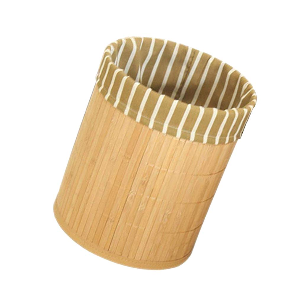 and More Living Room Bathroom Study Flower Prettyia Bamboo Trash Can Foldable Wastebasket Garbage Can for Office