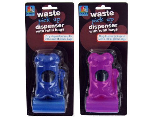 Dog waste bag dispenser with refill bags-Package Quantity,96 by duke's
