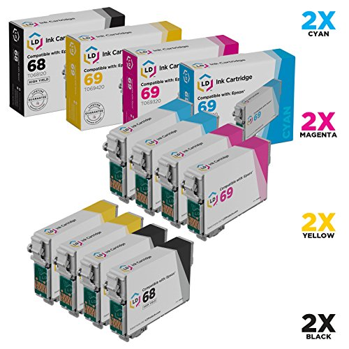 LD Remanufactured Ink Cartridge Replacement for Epson 68 & 69 (2 Black, 2 Cyan, 2 Magenta, 2 Yellow, 8-Pack)