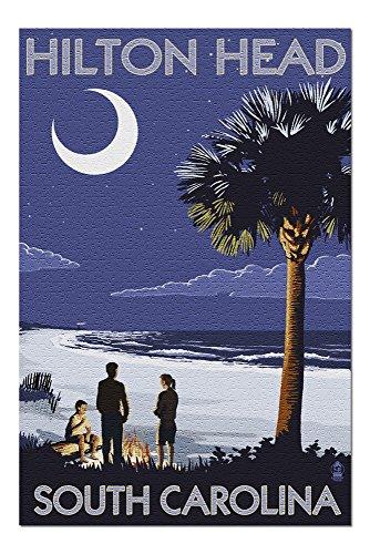 - Hilton Head, South Carolina - Beach and Bonfire (20x30 Premium 1000 Piece Jigsaw Puzzle, Made in USA!)