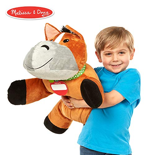 Melissa & Doug Cuddle Horse Jumbo Plush Stuffed Animal (Reusable Activity Card, Nametag, Over 2 Feet Long), ()