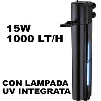 Trade Shop traesiofitro Interno para Pecera acuarios Agua Peces 10 W 1000 l/h wp-1510 F UV: Amazon.es: Productos para mascotas
