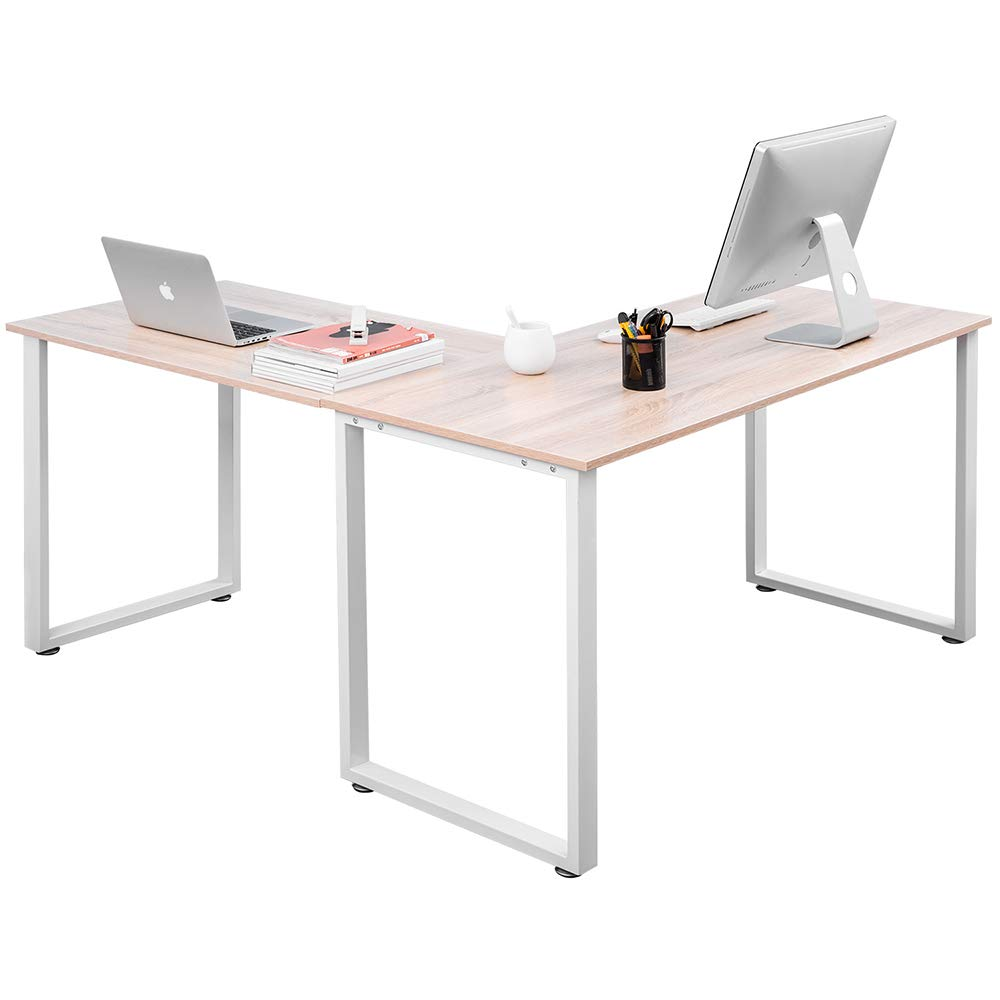Romatlink Minimalist Design L-Shaped Desk Corner Table Gaming Computer Desk Modern Great Choice for Home Office Activity Including Writing Work, Material,White