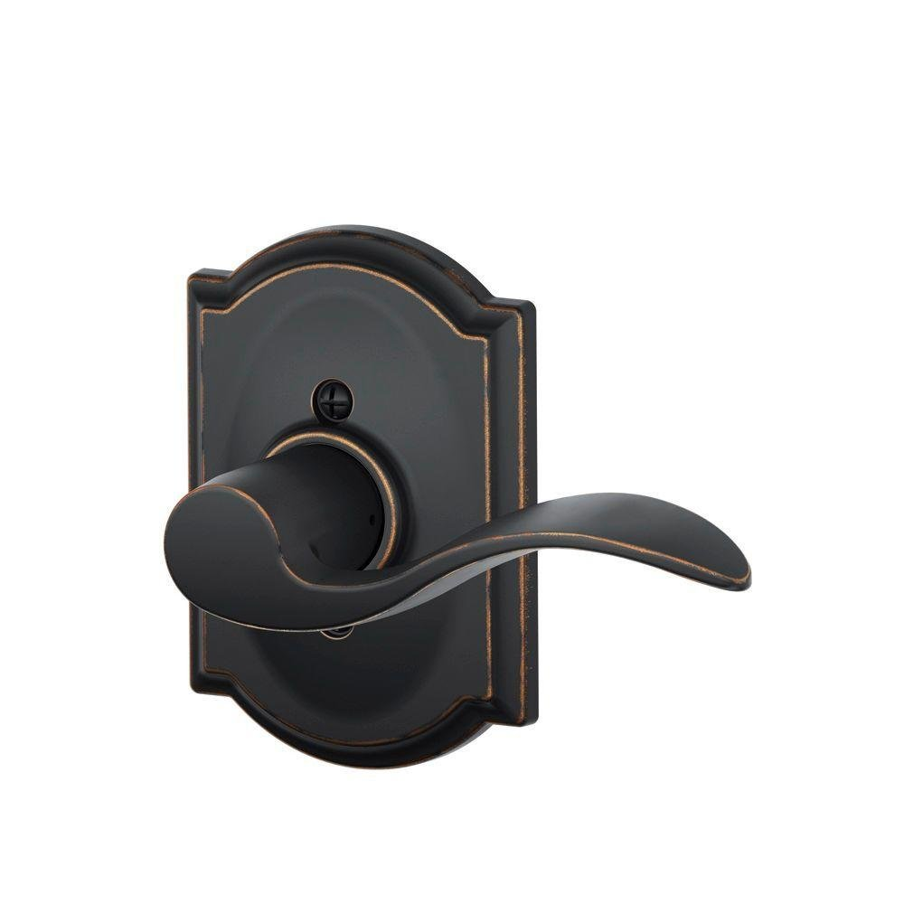 Schlage Lock Company Accent Right Handed Lever with Camelot Trim Non-Turning Lock, Aged Bronze (F170 ACC 716 CAM RH)