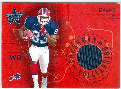 - Lee Evans player worn jersey patch football card (Buffalo Bills) 2004 Leaf Rookies & Stars #FO11