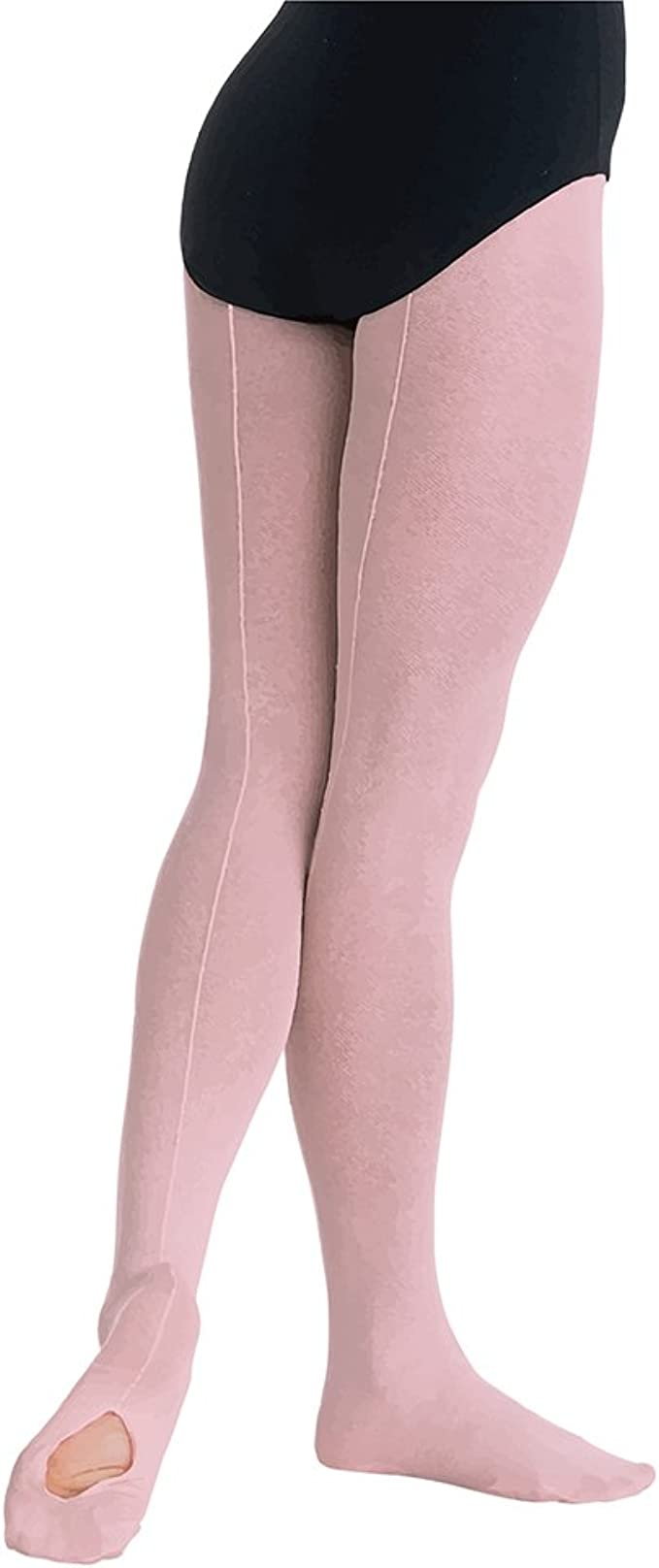 Capezio 5 Women/'s Size Small Ballet Pink Footed Tights with Back Seam