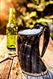 Viking Drinking Ox Horn Mug Set In Premium Gift Box – Hancrafted 20oz Tankard Cup – Drink Mead & Beer Like Gods from A Large Ale Goblet – Perfect Present for Real Men – FREE BONUS Shot Glass