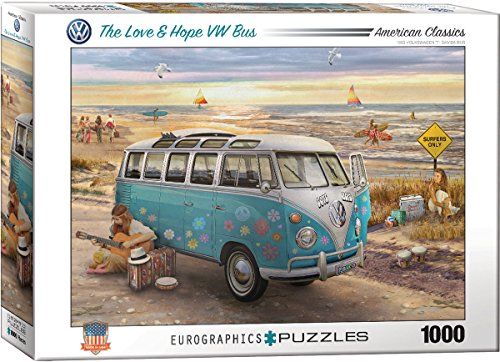 EuroGraphics the Love & Hope VW Bus by Greg Giordano Puzzle (1000 Piece) (Hippie Bus Vw)