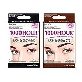 1000 lashes - Combo Pack! 1000 Hour Eyelash & Brow Dye / Tint Kit Permanent Mascara (Black & Dark Brown)