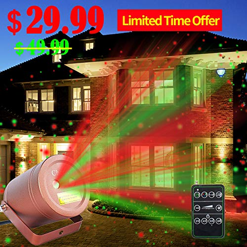 Christmas Laser Lights Outdoor Moving Star Projector Waterproof IP65 Decoration Red & Green Aluminum Laser Show Light Model-ARG in Bronze By Cheriee (Projector Star Christmas Light)