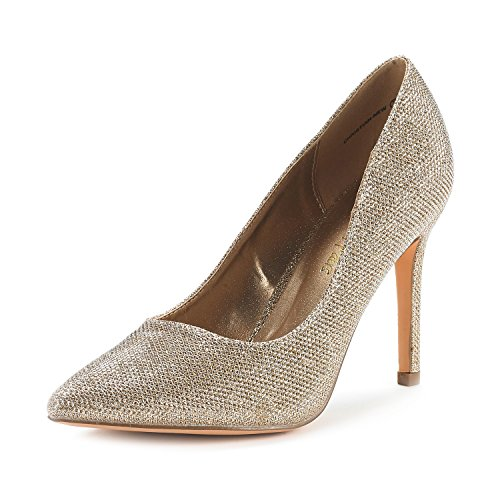 Gold High Heel Pump (DREAM PAIRS Women's Christian-New Gold Glitter High Heel Pump Shoes - 8.5 M US)