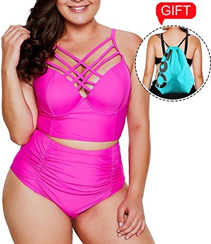 2018 Women's Plus Size Swimsuit High Waisted Ruffles Push up Halter Bikini (Nylon Plus Size Suit)