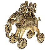 Kapasi Handicrafts Lord Ganesha Sitting on Elephant with Riddhi and Siddhi Brass Idol S (5 x 9.5 x 9 Inches)