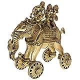 Kapasi Handicrafts Lord Ganesha Sitting on Elephant with Riddhi and Siddhi Brass Idol S (5 x 9.5 x 9 Inches)