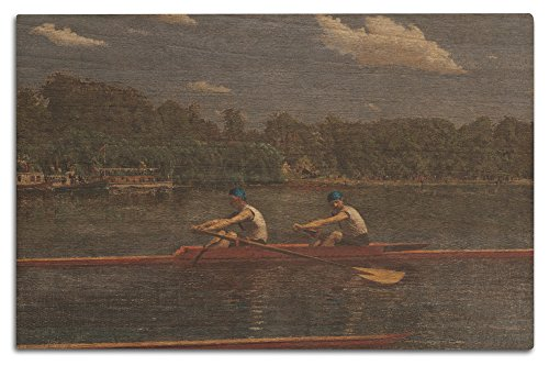 The Biglin Brothers Racing (Artist: Thomas Eakins) c. 1872 - Masterpiece Classic (12x18 Wood Wall Sign, Wall Decor Ready to Hang)