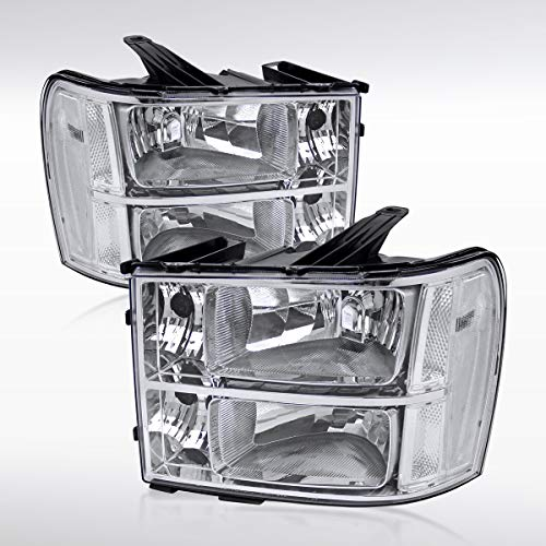 Autozensation For Sierra 1500 2500 3500HD Euro Crystal Chrome Clear Headlights Left+Right ()