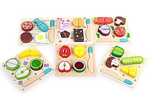 Alimentos de juguete Babyhugs Juego de clasificador de madera para bebés y niños con forma de comida Juegos de imitación