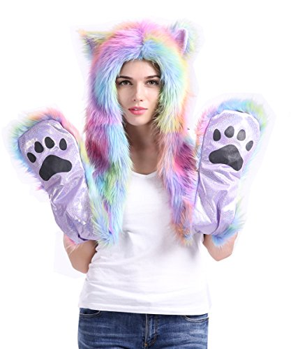 Unicorn Rainbow Rave Spirit Animal Furry Hoddie Hat Faux Fur 3 In 1 Function
