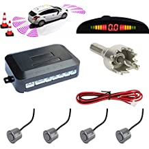 TKOOFN Highly Sensitive Buzzer Safety Alert Car Reverse Back Up Radar Detector System with 4 Ultrasonic Parking Sensors & LED Display for Universal Auto Vehicle - Grey
