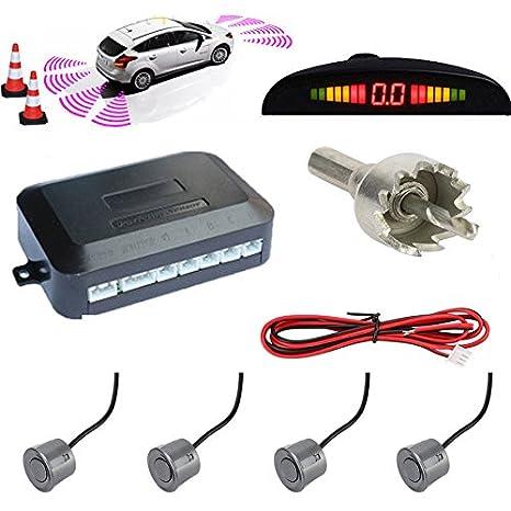 TKOOFN® Universal KFZ Radar Aparcamiento Sensor Alarma Acustica Indicador LUZ Kit LED Marcha Atras (8 Unidades Plata) A15011458