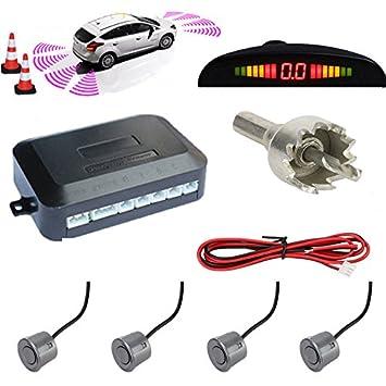 TKOOFN® Universal KFZ Radar Aparcamiento Sensor Alarma Acustica Indicador LUZ Kit LED Marcha Atras (4 Unidades Gris): Amazon.es: Coche y moto