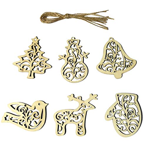 BESTOYARD 18pcs Wooden Gift Tags with Holes and Jute Twines Christmas Tree Decorations Ornaments Wooden Christmas Tree Bell Gloves Snowman Reineer Shapes Cutouts