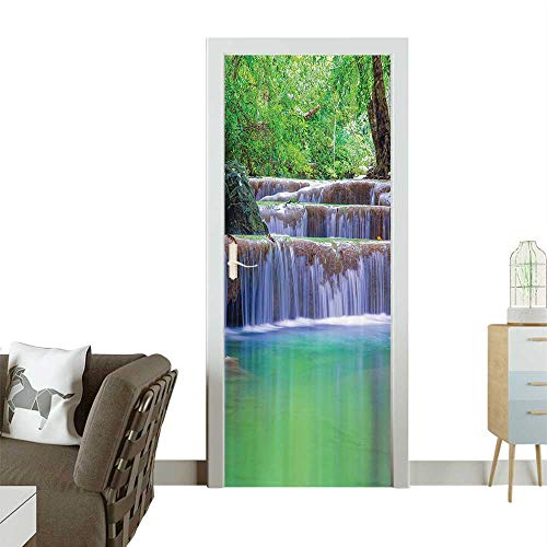 Door Sticker Wallpaperecti iry Step Cascade Waterfalls Pours Into Crystal Clear Lake Exotic Tropical Fashion and Various patternW38.5 x H77 INCH