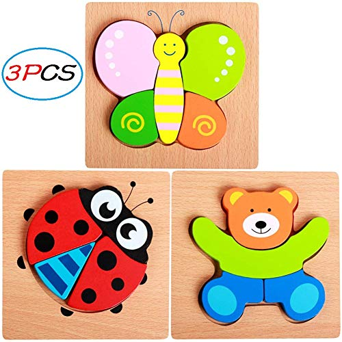 PARATOS Colorful Butterfly Ladybug Bear Wooden Jigsaw Puzzles Toy Early Educational Animals Insects Chunky Puzzle Gifts Toys for Baby Toddlers Boys Girls ()