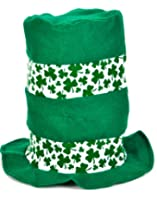 St. Patrick's Day Shamrock Soft Felt Stovepipe Top Hat, Green White, One Size