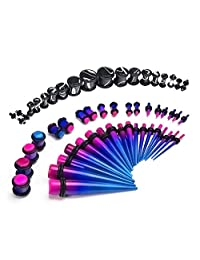 D.Bella 14G-00G 54pcs Acrylic Ear Stretching Kit Tapers & Plugs Body Piercing Jewelry Purple