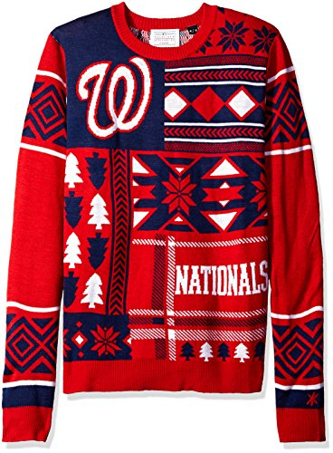 foco washington nationals patches ugly crew neck sweater double extra large