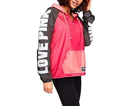 1041175cd7 Image Unavailable. Image not available for. Color  Victoria s Secret Pink  Anorak Windbreaker Jacket Colorblock Half Zip ...