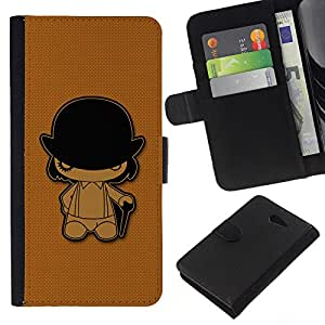 Planetar® Colorful Pattern Flip Wallet Leather Holster Protective Skin Case Cover For Sony Xperia M2 / M2 dual ( Clockwork Orange )