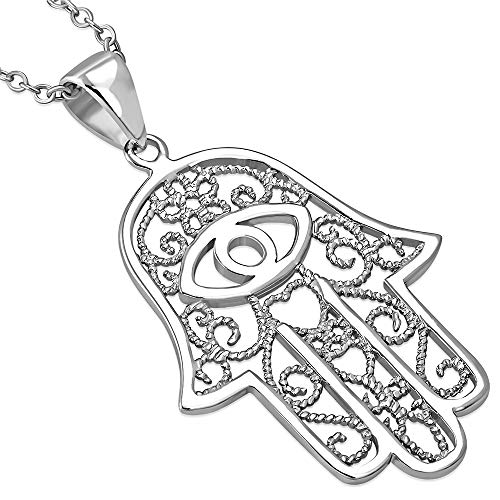 925 Sterling Silver Large Filigree Womens Evil Eye Hamsa Love Heart Pendant Necklace