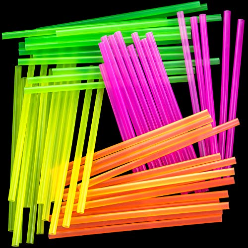 Blacklight Neon Drinking Straws 300 Pack in 4 Bright Colors for Retro Party Time or Kids Birthday. Each BPA-Free Straight Straw is Individually Wrapped in a Paper Wrapper. Great for Craft Projects! -