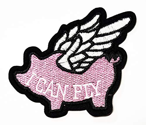Nipitshop Patches Cute Pretty Pink Flying Pig Angels Kids Cartoon Patch Applique for Clothes Great as Happy Birthday Gift